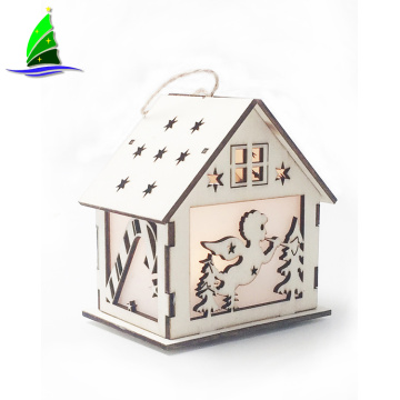 wooden Led Light Glowing House Villa Xmas Decorations