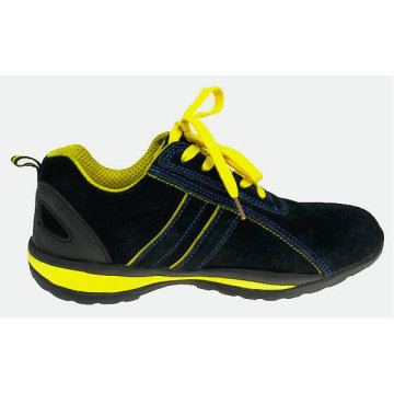 Suede Leather MD Sole Safety Sport Shoes