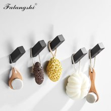 Falangshi 304 Stainless Steel Black Hooks Clothes Coat Hanger Rustproof Nail Screwed Robe Hooks Wall Mounted WB8111