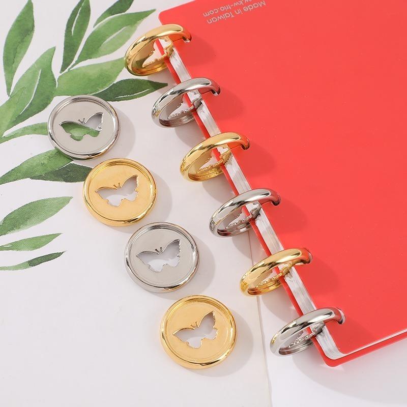 24PCS Binding Buckle Butterfly Pattern Binding Discs 28MM Notebook Mushroom Hole ButtonBinder Plastic Accessories Disc Binding
