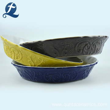 Fashion New Style Design Colourful Bakeware Ceramic Pie Pan On Sale