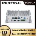Industrial Fanless Mini PC Intel Core i5 8250U i7 7500U 2*DDR4 2*Lans Desktop Computer Win10 Linux 6COM GPIO VGA 4G SIM HD WiFi