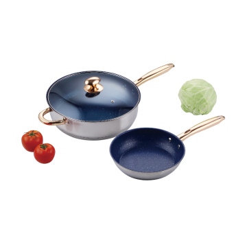 Nonstick Frying Pan set with Gold-Plated Handle