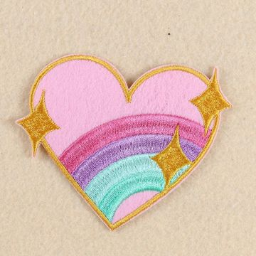 Rainbow Heart shaped Stripes Iron on embroidery Patches