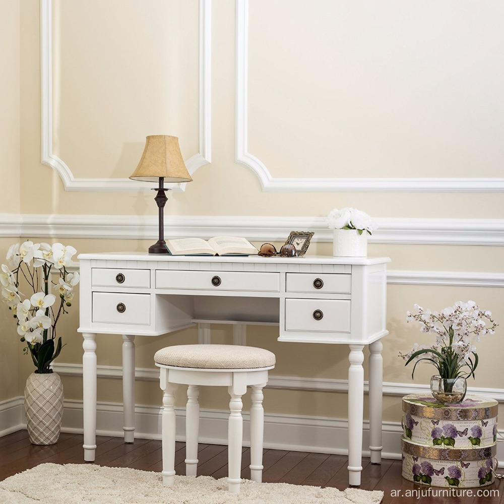 French Antique Dresser Chair 5 Drawers Dressing Table With 3 Mirrors