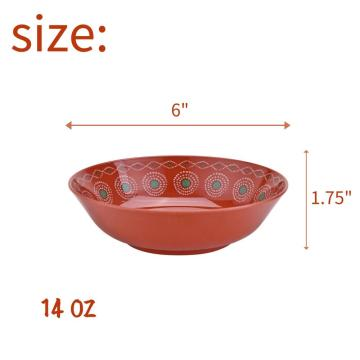 6 Inch Melamine Shallow Bowl Set of 6