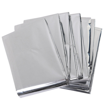 Silver Emergency thermal heated mylar survival blanket