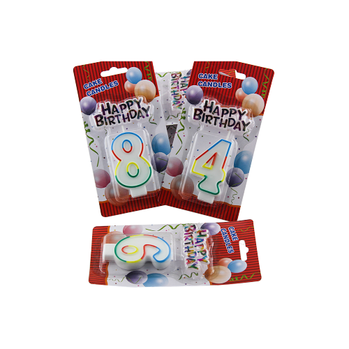 Border shape birthday number candle