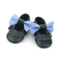 Wholesale Black Colors Bow Moccasins Leather Baby Shoes