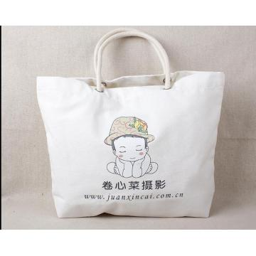 Customized Leather Handle Canvas Bag