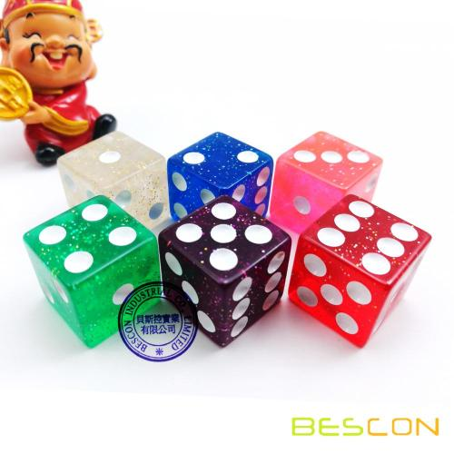 Bescon High Quality Casino Size Glitter Dice 19MM with Big Dots