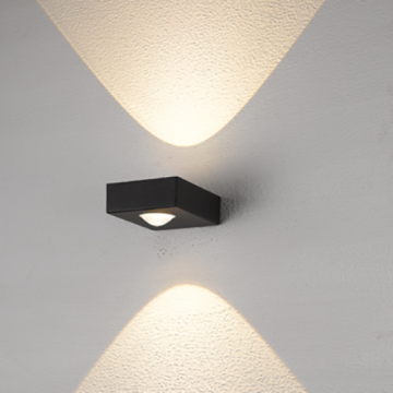 Quality Square Black up down indoor wall light