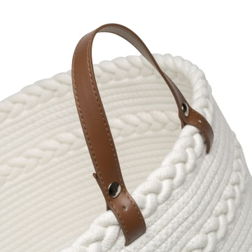 Custom eco-friendly cotton rope braid laundry baskets