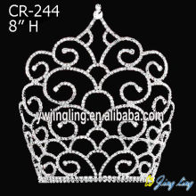 8 Inch Rhinestone Pageant Crowns Tiaras For Girls
