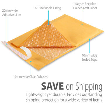 Printed Shipping Wrapping Padded Kraft Paper Bubble Mailer