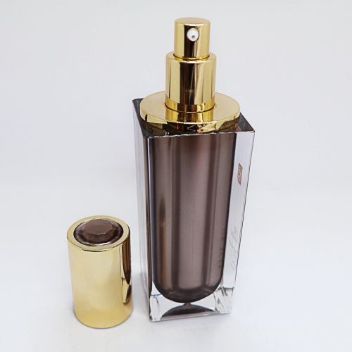 Diamond cap square brown acrylic cosmetic Bottle