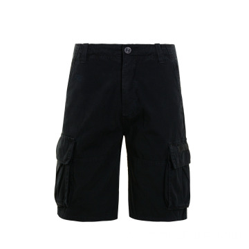 Fashion Style Knee Length Black Cotton Cargo Shorts