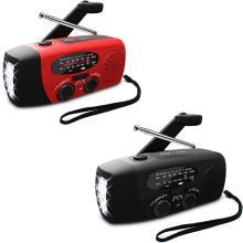 5 in 1 Outdoors Portable Radio Hand Crank Solar Crank Dynamos Powered&USB Charging FM AM WB Weather Radio Emergency LED Flashlig