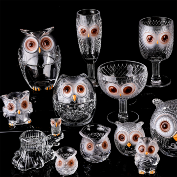 Crystal glass owl shaped drinking set glass cup