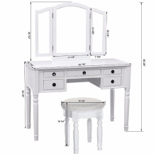 Tri-folding mirror dresser White sample mirror furniture dressing table