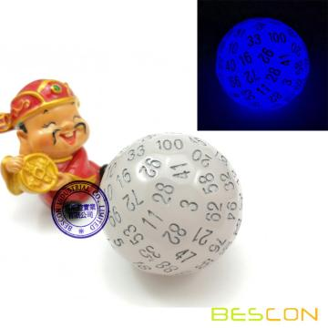 Bescon Glow in Dark Polyhedral Dice 100 Sides, Luminous D100 die, 100 Sided Cube, D100 Game Dice, Glowing 100-Sided Cube