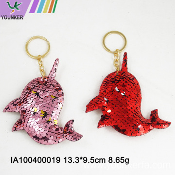 Dolphin shape sequined key ring bag hanging ornaments