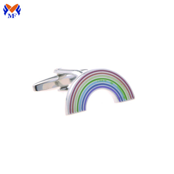 Stainless steel rainbow design enamel cuff link