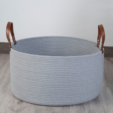 Durable Round Storage Cotton Rope Basket Leather Handle