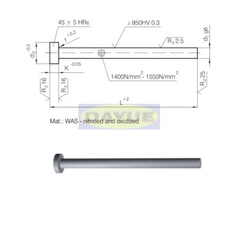 ISO 6751 nitrided black ejector pin cylindrical head