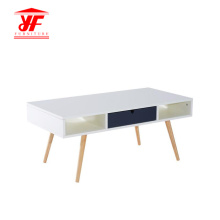 Wood Coffee Table with Solid Wood Leg Design