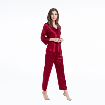 Silk Pajamas Two Piece Set 3/4Long Sleeve Sleepwear