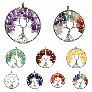 Charm 7 Chakra Stone Round Pendulum Silver Plated Tree of Life Pendant Necklace