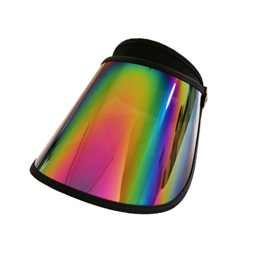 Sun visor cap with fancy rainbow pvc lens