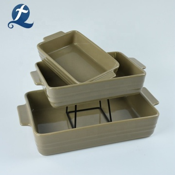 New design rectangular baking custom ceramic bakeware pan