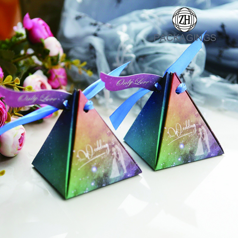 Starry Sky Pattern Triangle Pyramid Candy Gift Box