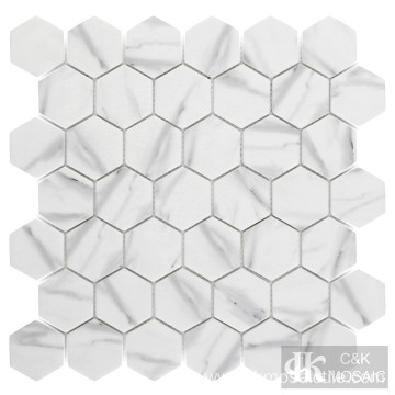 Carrara Marble Hexagon Glass Mosaic Tiles