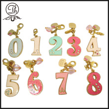 Letter design colourful rhinestone metal keychain