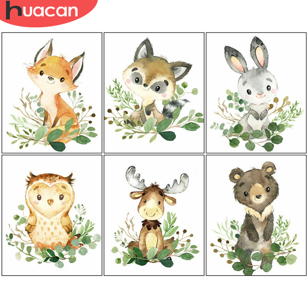 HUACAN Painting By Numbers Fox Animal Oil Painting Wall Art Coloring By Numbers On Canvas Kits Handpainted Gifts