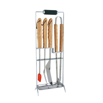 6pcs ss bbq tool set with rest rack