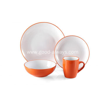 16 Piece Two Tone Color Dinner Set  Orange