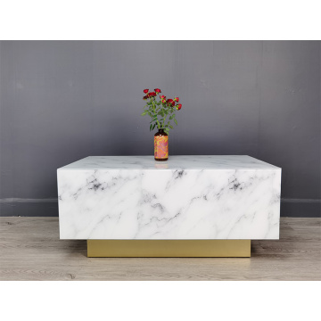 Marble Pattern Retangle Glass Coffee Table