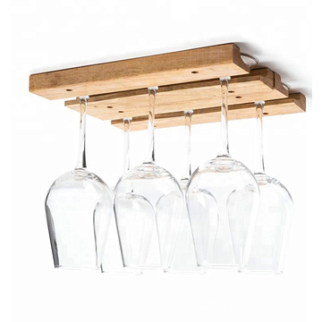 Brown color 4 wooden rails wine glass rack