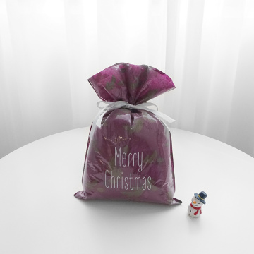 Red Background Christmas Bag With Leaves