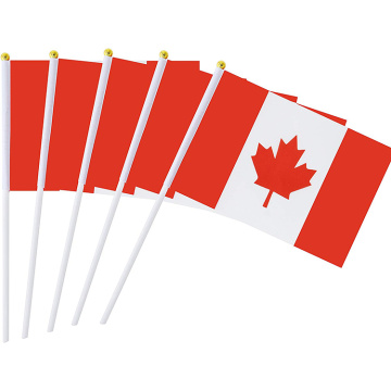 Canada promotional hand held flags with plastic pole