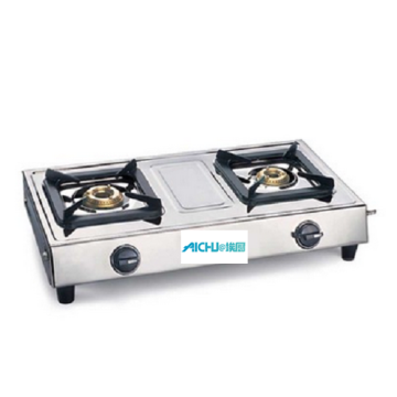 Stainless Steel Cooktop 2 Brass Burners