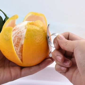 2pcs Stainless Steel Oranges Lemon Peeler Grapefruit Citrus Fruit Peel Remover Props For Kitchen Gadget Pack