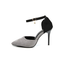 Women Gray Suede Pointed Toe Rubber Pumps