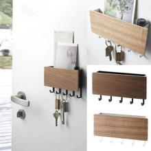 New Wall Hanging Type Wooden Decorative Wall Shelf Sundries Storage Box Prateleira Hanger Organizer Key Rack Wood Wall Shelf