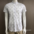 100% cotton print short sleeve shirt in sunmmer