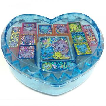 Plastic heart-shaped glitter letter stamp